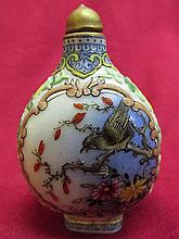 Chinese porcelain Snuff bottle - flower & bird pattern