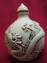 Chinese white porcelain Snuff bottle - dragon & phoenix pattern