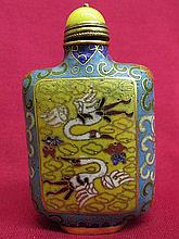 Chinese cloisonne Snuff bottle - crane & flower pattern
