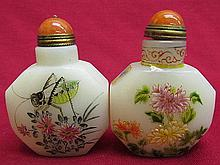 2 Chinese porcelain Snuff bottle - Cricket & Flower Pattern