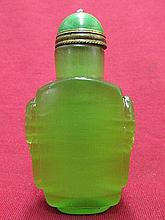 Chinese Green Opal Carved Snuff Bottle