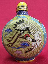 Chinese cloisonne Snuff bottle - crane Pattern