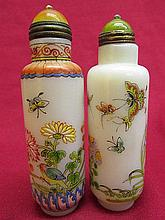 2 Chinese Hand Painted Butterfly&Flower; Glass Snuff Bot