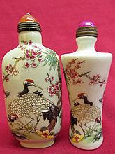 2 Chinese porcelain Snuff bottle - Crane & Flower Patte