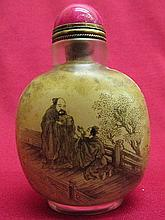 Chinese inside painting person & scenery pattern snuff bottle