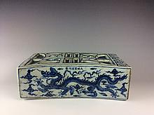 Chinese Ming Style Porcelian Pillow Painted with Dragon Marked