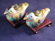PAIR OF VINTAGE CHINESE LOVE BIRD INCENSE BURNER