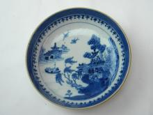 ANTIQUE CHINESE 18TH C BLUE AND WHITE DISH