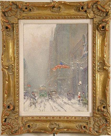 AN OIL ON BOARD DEPICTING FIFTH AVENUE, THE TIFFANY FACADE AND THE ATLAS CLOCK