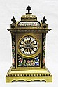 FRENCH ENAMELED BRASS MANTEL CLOCK, Japy Freres &