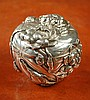 JAPANESE SILVER LIDDED BOX having relief floral