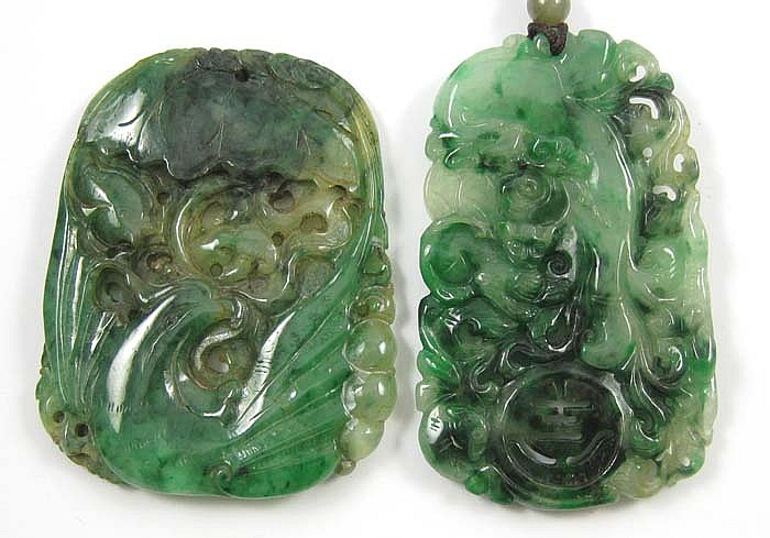 TWO CHINESE CARVED JADE PENDANTS, each of tapering