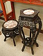 TWO CARVED BLACKWOOD PEDESTAL TABLES, Chinese