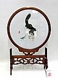 CHINESE PAINTING ROUND SILK depicting a gray &