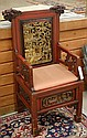 MING-STYLE CARVED AND RED STAINED WOOD ARMCHAIR,