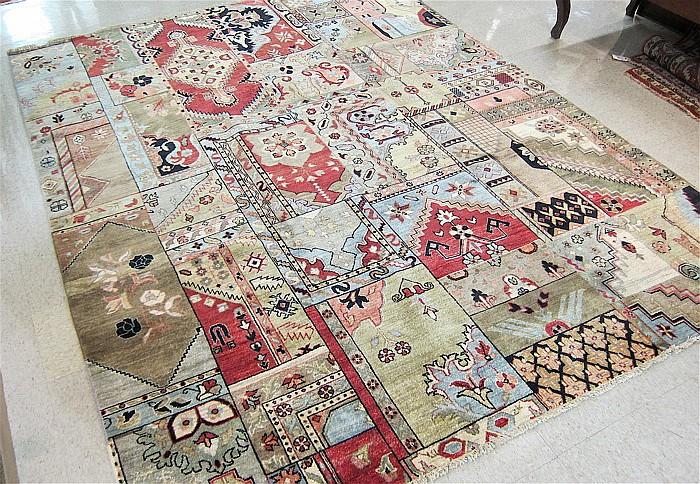 HAND KNOTTED ORIENTAL CARPET, random color panel