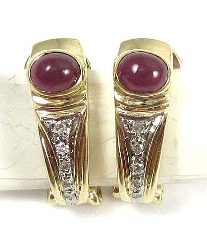 PAIR OF RUBY AND DIAMOND EARRINGS, each 14k gold