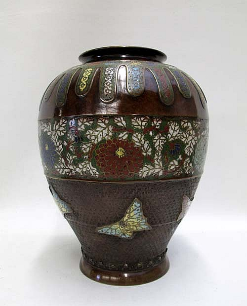 MEIJI JAPANESE CLOISONNE HIGH SHOULDERED MIXED