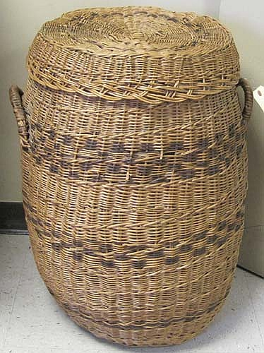 VINTAGE LARGE WOVEN COVERED STORAGE BASKET