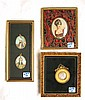 FOUR MINIATURE PAINTINGS in three frames: small