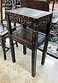 TWO TIER MOTHER-OF-PEARL INLAID HONGMU SIDE TABLE,