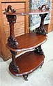 VICTORIAN THREE-TIER MAHOGANY SERVING STAND,