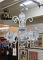 FIVE-LIGHT CRYSTAL AND PRESSED GLASS CHANDELIER, having five candlestick arms each light rising from a clear glass swan-form bowl.  Dimensions:  25