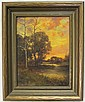 H.F. HAUSNER OIL ON CANVAS, 19th/20th century, evening landscape.  Image measures 16