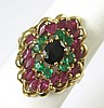 SAPPHIRE, EMERALD AND RUBY RING, 14k yellow gold