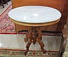 VICTORIAN MARBLE-TOP WALNUT LAMP TABLE, Rococo