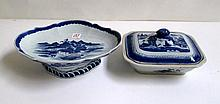 TWO CHINESE CANTON BLUE AND WHITE EXPORT DISHES, a