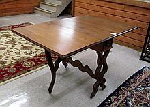 VICTORIAN LYRE TRESTLE TEA TABLE, American, c.