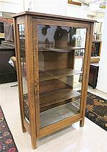 AN OAK AND GLASS CHINA CABINET, American, c. 1900,