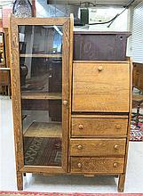 AN OAK SECRETARY BOOKCASE, American, c. 1900, the