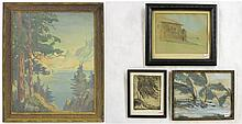 BENJAMIN DANIEL LARSEN, FOUR FRAMED PIECES OF