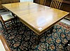 SQUARE OAK DINING TABLE WITH SIX LEAVES, American,