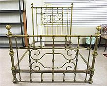 LATE VICTORIAN BRASS BED, American, c. 1900,