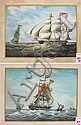 TWO TALL-MASTED SAILING SHIP WATERCOLORS on heavy