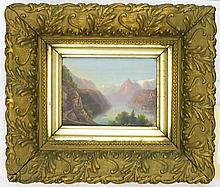 FRAMED OIL ON BOARD OF A CONTINENTAL LANDSCAPE