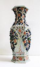 CHINESE INSPIRED CERAMIC VASE having hexagonal