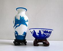 CARVED PEKING CAMEO GLASS VASE AND BOWL, two