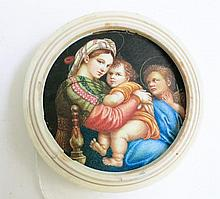 FRAMED MINIATURE RELIGIOUS PORTRAIT of Madonna