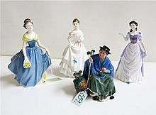 FOUR ROYAL DOULTON FIGURINES of soft paste