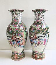 TWO CHINESE FAMILLE ROSE BALUSTER VASES with hand