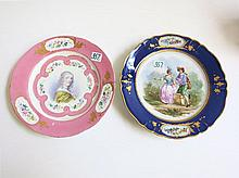 TWO HAND PAINTED CABINET PLATES: Sevres porcelain