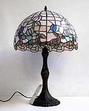 LEAD GLASS TABLE LAMP having tulip pattern shade