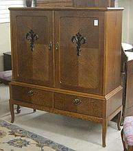 ELM WOOD CHINA CABINET, Swedish, early 20th