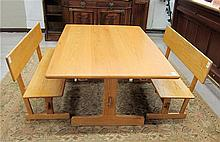 OAK DINING TABLE AND BENCH SET, Gerald McCabe