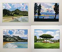 CLIVE DAVIES, FOUR WATERCOLORS ON PAPER
