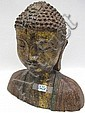 CAST IRON BUDDHA BUST SCULPTURE, with head and